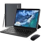 Tablet 10 Zoll mit Tastatur Android 10, 4 GB RAM, 64 GB ROM, 5G+2.4G Dual Band WiFi Tablet Android, Quad-Core, 1080p HD IPS Display, Unterstützt 3D-Spiele, 6000 mAh, OTG, Typ C, Bluetooth