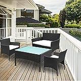 Hengda Sitzgruppe Polyrattan Balkonmöbel für 4 Personen Gartenlounge Set, Schwarz, Lounge Gartenmöbel-Set Gemütlich für Balkon oder Terrasse
