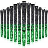 Crestgolf Aktualisierte Multi-Compound-Golfgriffe für Golfschläger, Set mit 13 Stück, mehr rutschfest, ökologische Baumwollgarn-Faden-Technologie (mittlere Größe grün)