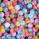 AONER Ca. 400 Stück Mini Perlen Set (Acryl oder Holz) Bastelperlen für Armbänder Acrylperlen zum basteln Holzperlen zum auffädeln Holzkugeln mit Loch Bunt Kugeln