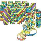 com-four® 20x kleine Luftschlangen Rollen in verschiedenen Mustern als Party Deko für Geburtstage - Papierschlangen für Silvester [Auswahl variiert] (20 Stück - bunt)