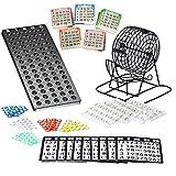 Bingo Spiel Set mit Bingotrommel aus Metall   75 Kugeln   500 Bingokarten   150 Bingochips   Ergebnisbrett