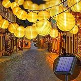 Lezonic Solar Lichterkette Lampion Außen, 8 Meter 30 LED Laternen 8 Modi Wasserdicht Solar Beleuchtung für Garten, Balkon, Hof, Hochzeit,Weihnachten,Party Deko (Warmweiß)