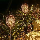 Metall Solarleuchten für Außen, 2 Stück Solarlampen für außen Garten mit IP65 Wasserdicht, JOYCREATOR Warmweiß LED Orientalische Solarleuchten Garten Terrasse Balkon deko