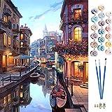 APERIL Malen Nach Zahlen Erwachsene Anfänger Kinder, DIY Ölgemälde auf Leinwand Geschenk Malen Nach Zahlen Kits-Ohne Rahmen 40 * 50 cm (Venedig Wasserstadt)