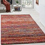 Paco Home Teppiche Modern Wohnzimmer Teppich Spezial Melierung Rot Multicolour Meliert, Grösse:120x170 cm