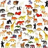 Cartoon Tierfiguren-Set , 64 Mini-Wildtiere, Spielzeugtiere aus Kunststoff, Dschungeltiere Spielzeug-Set, Plastiktiere für Kinder, Jungen und Mädchen, Party-Mitgebsel, Klassenzimmer-Belohnungen