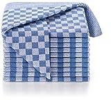 Blumtal 10er Set Premium Geschirrtücher - Hochwertige Geschirrhandtücher, 100% Baumwolle, Oeko-TEX® Zertifiziert, blau kariert, 50x70cm