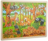 Goki 57734 Einlegepuzzle 'Tierkinder im Wald' aus Holz, 48-teilig