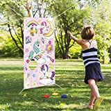 FORMIZON Werfen Spiele, Regenbogen Unicorn Bohne Tasche Toss Spiel mit 6 Sitzsäcken, Spaß Sitzsack Spiel Sets für Kinder Party Dekoration Outdoor Fun Aktivitäten (Cartoon Einhorn)