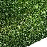 Quesuc Kunstrasen Teppich Springfield | Außenansicht für Terrasse und Balkon | Kunstrasen Wasserdurchlässig | Kann Drinnen und Draußen Verwendet Werden, Anti-UV Dunkelgrün 1CM Hoch (100x100 cm)