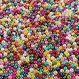 Outuxed 1500 Stück 4mm Perlen Bunte künstliche Runde Perlen Perlen Basteln geeignet für Schmuckherstellung und Heimwerken Halskette Armband von den Kindern