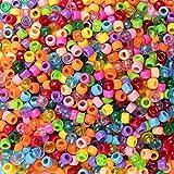 BAKHK 1000 Stück Bunte Perlen größe Loch Bastelperlen gemischte Farben Klar für Armband, Halsband DIY basteln