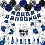 Humairc Geburtstagsdeko Mann Dunkelblau Happy Birthday Girlande 24 Konfetti Luftballon 9 Pompoms 6 Spiralen Deckendeko 1 Set Tortendeko